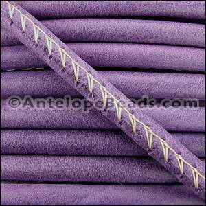 Arizona 5mm ROUND Stitched Leather Cord - Violet - per inch