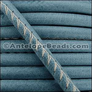 Arizona 5mm ROUND Stitched Leather Cord - Faded Denim - per inch