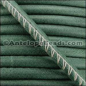 Arizona 5mm ROUND Stitched Leather Cord - Forest Green - per inch