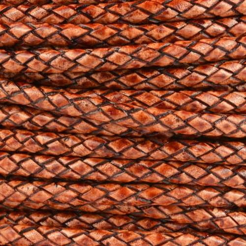 Braided 5mm ROUND Leather Cord - Tobacco