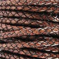 Braided 5mm ROUND Leather Cord - Brown - per inch
