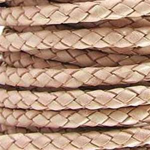 Braided 5mm ROUND Leather Cord - Natural - per inch