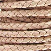 Braided 5mm ROUND Leather Cord - Natural