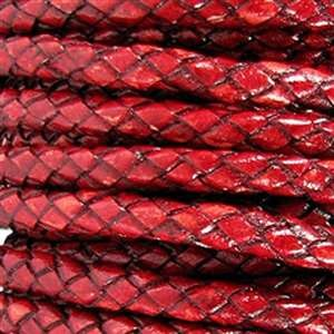 Braided 5mm ROUND Leather Cord - Red