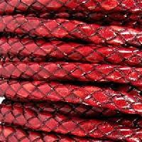 Braided 5mm ROUND Leather Cord - Red - per inch
