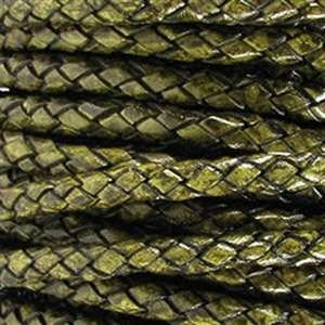 Braided 5mm ROUND Leather Cord - Green