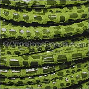 Cancun 5mm ROUND Leather Cord - Lime Green - per inch