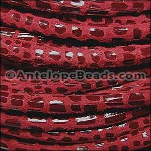 Cancun 5mm ROUND Leather Cord - Red - per inch