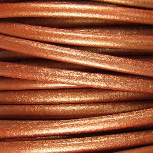 Lux 5mm Round Leather Cord - Metallic Copper