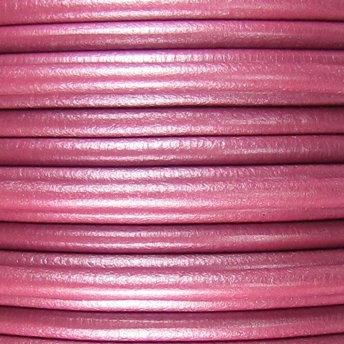 Lux 5mm Round Leather Cord - Metallic Fuchsia