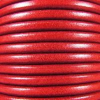 Premier Italian 5mm Round Leather Cord - Red - per inch
