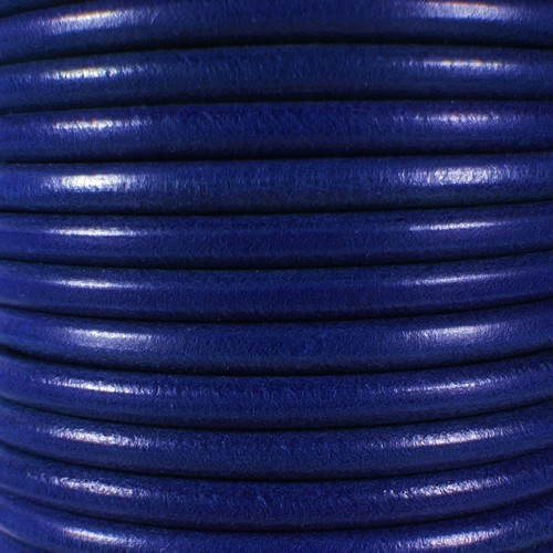 Premier Italian 5mm Round Leather Cord - Dark Electric Blue