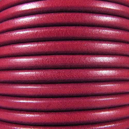 Premier Italian 5mm Round Leather Cord - Ruby