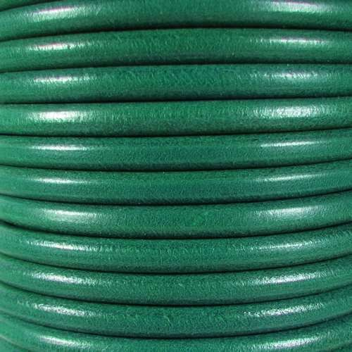 Premier Italian 5mm Round Leather Cord - Teal - per inch