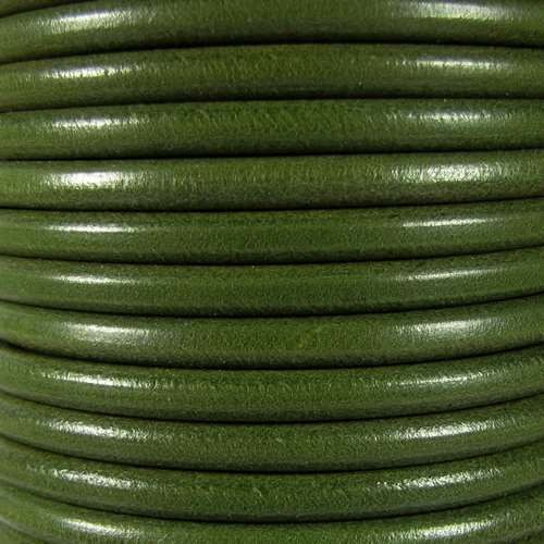 Premier Italian 5mm Round Leather Cord - Army Green - per inch