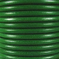 Premier Italian 5mm Round Leather Cord - Kelly Green - per inch