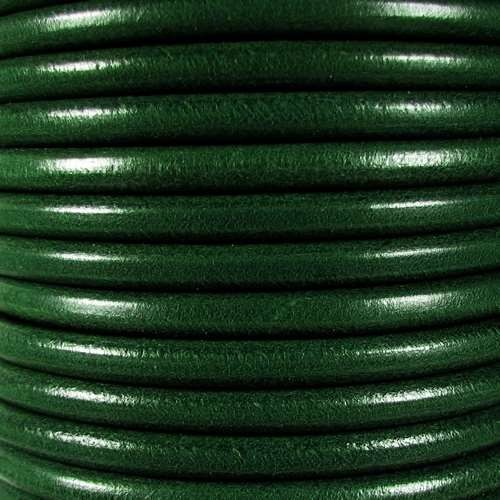 Premier Italian 5mm Round Leather Cord - Bottle Green