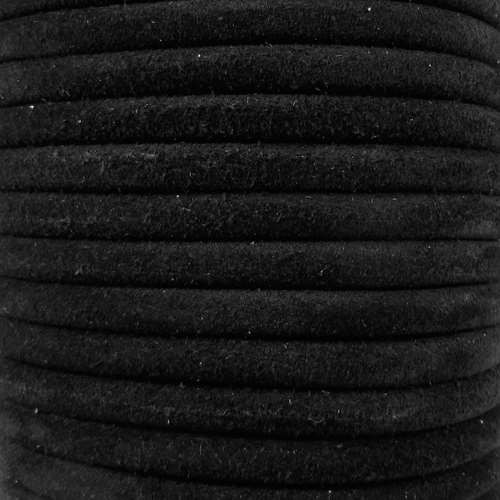 Suede 5mm ROUND Leather Cord - Black