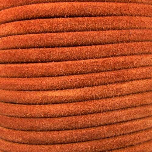Suede 5mm ROUND Leather Cord - Camel - per inch