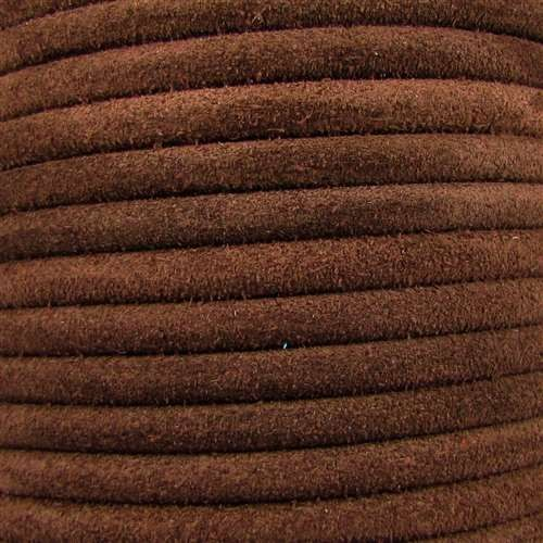 Suede 5mm ROUND Leather Cord - Brown