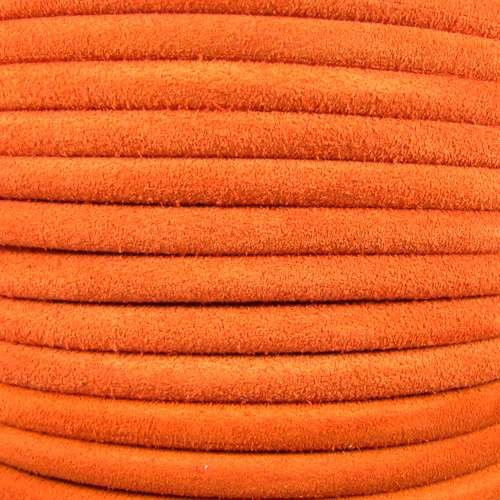 Suede 5mm ROUND Leather Cord - Orange - per inch
