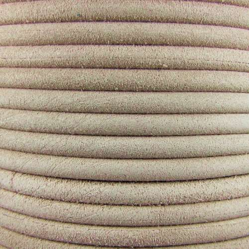 Suede 5mm ROUND Leather Cord - Beige - per inch