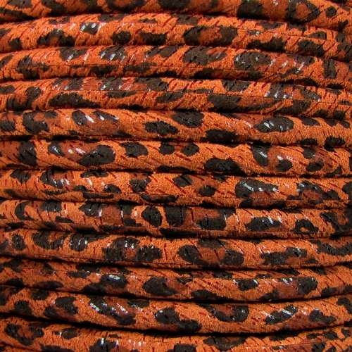 Suede Leopard 5mm ROUND Leather Cord - Tan