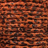 Suede Leopard 5mm ROUND Leather Cord - Tan - per inch