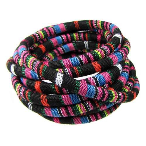 Cotton 6mm ROUND Cord - Black / Pink