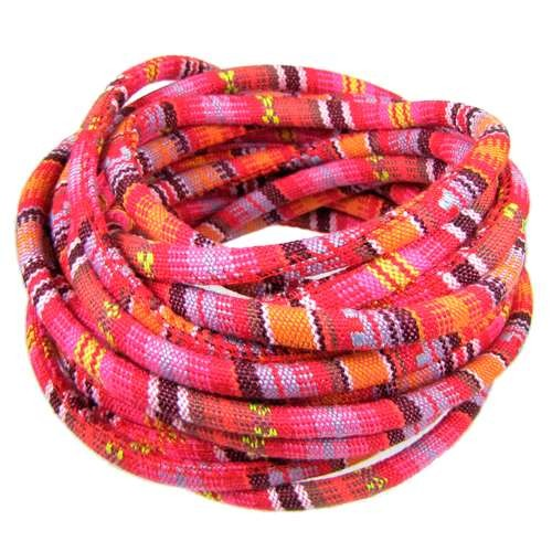 Cotton 6mm ROUND Cord - Pink / Red