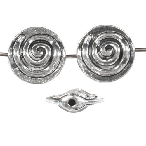 Pewter Bead Round Flat 12mm Spiral - Antique Silver