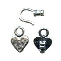 B&B Benbassat 1.0mm Heart Hook & Eye Clasp - Antique Silver (2pcs)