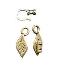 B&B Benbassat 1.0mm Leaf Hook & Eye Clasp - Antique Brass