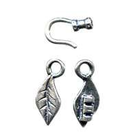 B&B Benbassat 1.0mm Leaf Hook & Eye Clasp - Antique Silver (2pcs)
