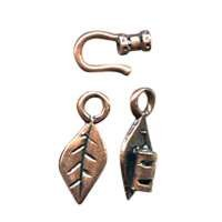 B&B Benbassat 1.5mm Leaf Hook & Eye Clasp - Antique Copper (2pcs)