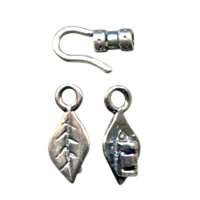 B&B Benbassat 1.5mm Leaf Hook & Eye Clasp - Antique Silver