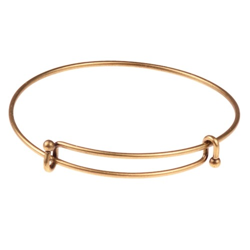 Bracelet Bangle Wire Expandable Charm - Antique Brass