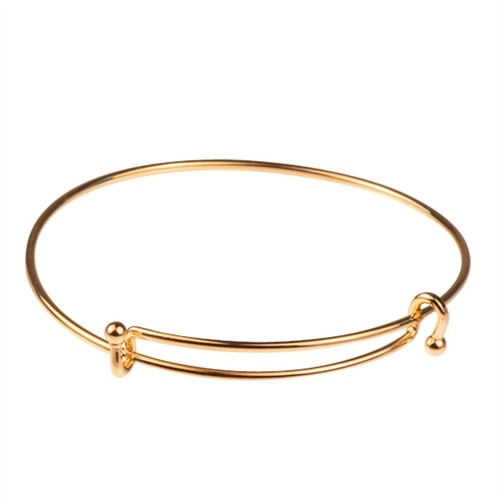 Bracelet Bangle Wire Expandable Charm - Gold Plated