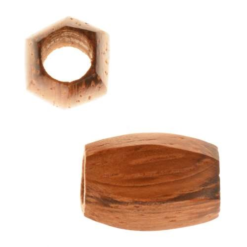 Bayong Wood Slide Large Hole Tube Six-Sided 15x8mm