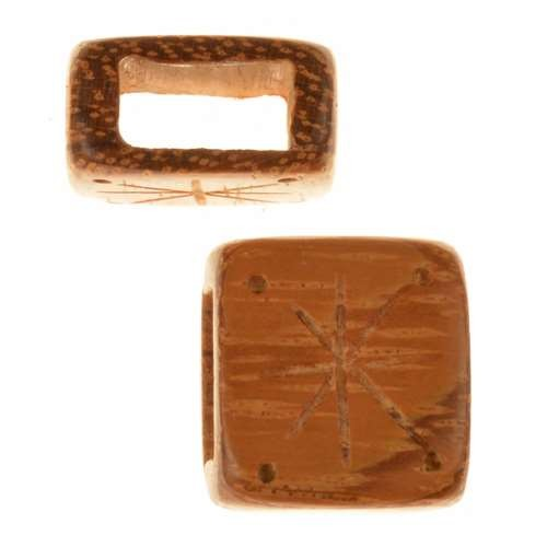 Bayong Wood Slide Large Hole Square Star / Dots 14mm - piece