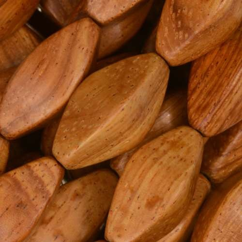 Bayong Wood Bead 4 Sided Oval 10x22mm - strand
