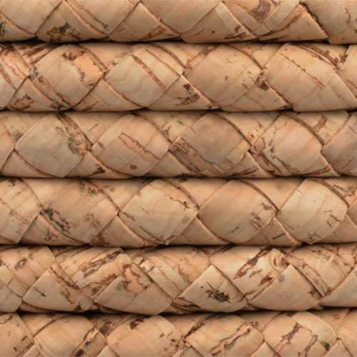 Portuguese Braided 10mm ROUND Cork Cord - Natural - per inch
