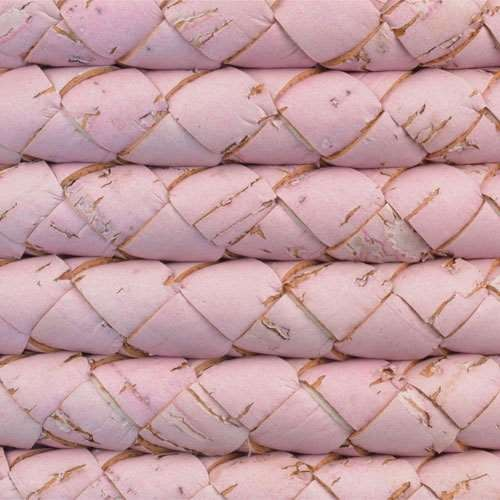 Portuguese Braided 10mm ROUND Cork Cord - Pink