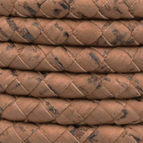 Portuguese Braided 10mm ROUND Cork Cord - Saddle Brown - per inch
