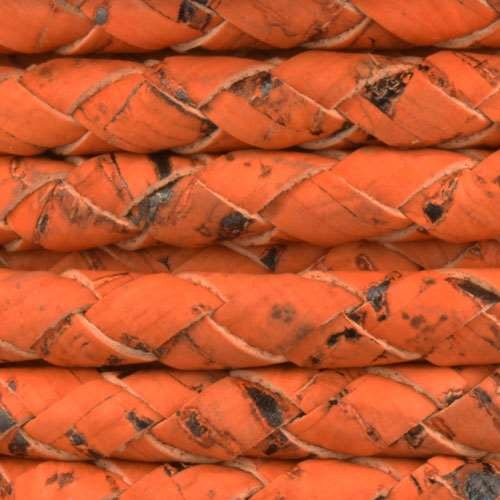 Portuguese Braided 6mm Round Cork Cord - Orange