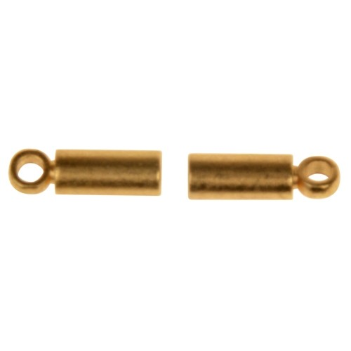 1mm End Cap Loop Cord End Clasp (4) - Satin Hamilton Gold