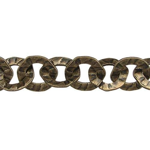 Hammered Washer Chain - Antique Brass - per foot
