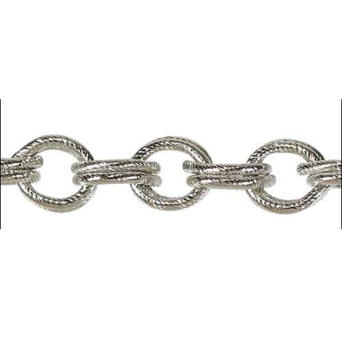 Double Etched Heavy Cable Chain - Rhodium