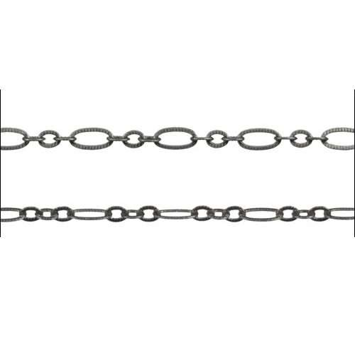 Small Etched Oval Chain - Matte Gunmetal - per foot