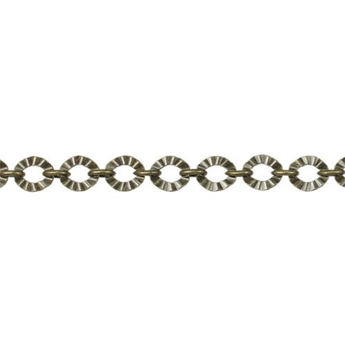 Crinkle Link chain ANTIQUE BRASS - per foot